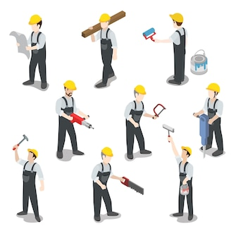 Conjunto de ícones de trabalhador da construção civil plano isométrico