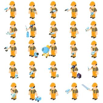 Conjunto de ícones de trabalhador e ferramenta