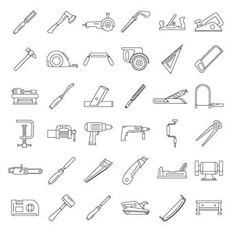 Conjunto de ícones de trabalho de carpinteiro