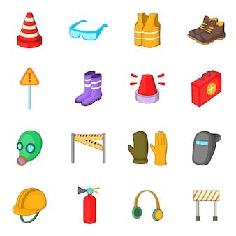Conjunto de ícones de trabalho de segurança