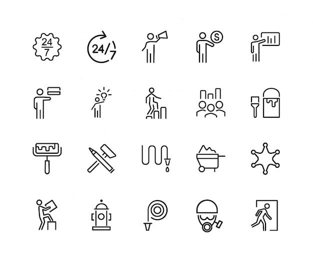 Conjunto de ícones de trabalho duro