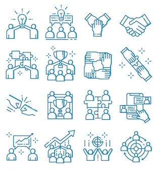 Conjunto de ícones de trabalho em equipe com estilo de estrutura de tópicos