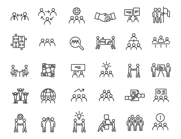 Conjunto de ícones de trabalho em equipe linear. ícones de comunicação em design simples.
