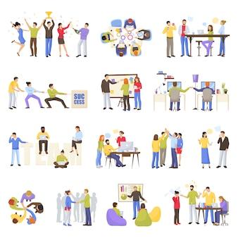 Conjunto de ícones de trabalho em equipe
