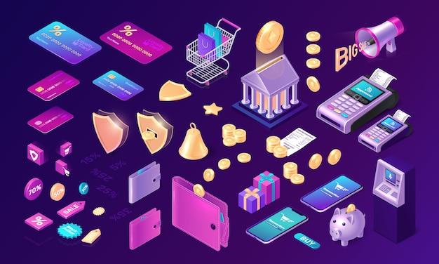 Conjunto de ícones de transferência de dinheiro