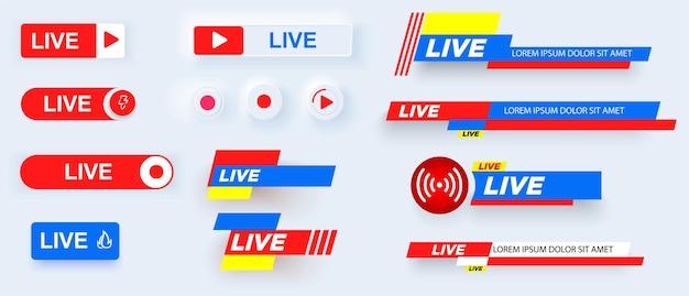 Conjunto de ícones de transmissão ao vivo.