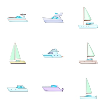 Conjunto de ícones de transporte de água, estilo cartoon