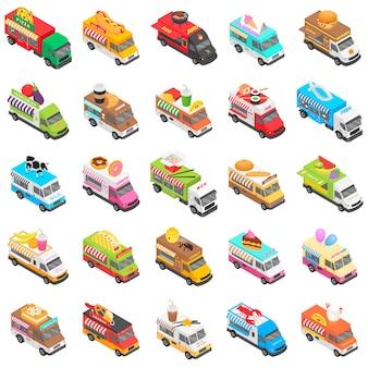 Conjunto de ícones de transporte de caminhão de comida, estilo isométrico