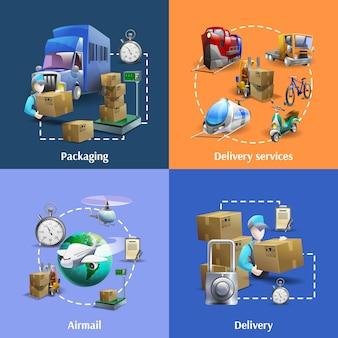 Conjunto de ícones de transporte e entrega