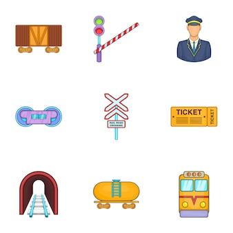 Conjunto de ícones de transporte ferroviário, estilo cartoon