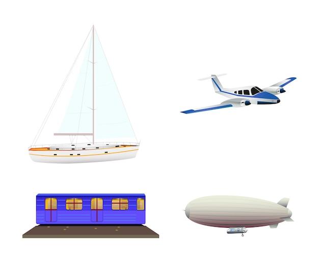 Conjunto de ícones de transporte isolado no fundo branco. estilo simples.