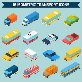 Conjunto de ícones de transporte isométrica