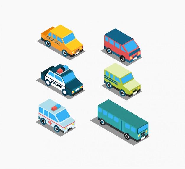 Conjunto de ícones de transporte isométrico