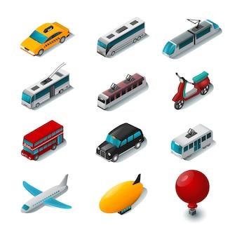 Conjunto de ícones de transporte público