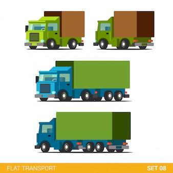 Conjunto de ícones de transporte rodoviário de entrega de carga plana engraçado. caminhão van automóvel vagão motor camião.
