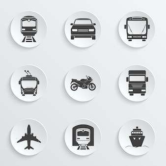 Conjunto de ícones de transporte simples.