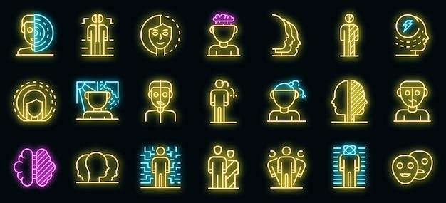 Conjunto de ícones de transtorno bipolar. conjunto de contorno de ícones de vetor de transtorno bipolar cor de néon no preto