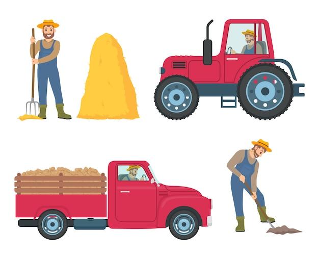 Conjunto de ícones de trator e caminhão