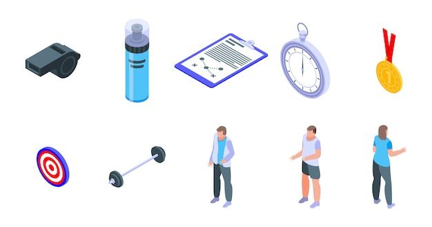 Conjunto de ícones de treinador, estilo isométrico