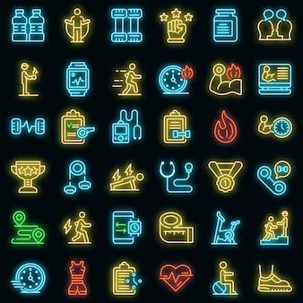 Conjunto de ícones de treinador pessoal. conjunto de contorno de ícones de vetor de personal trainer cor de néon no preto