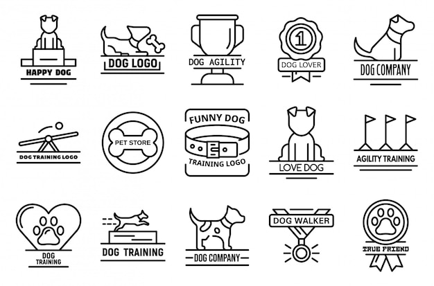 Conjunto de ícones de treinamento de cães, estilo de estrutura de tópicos