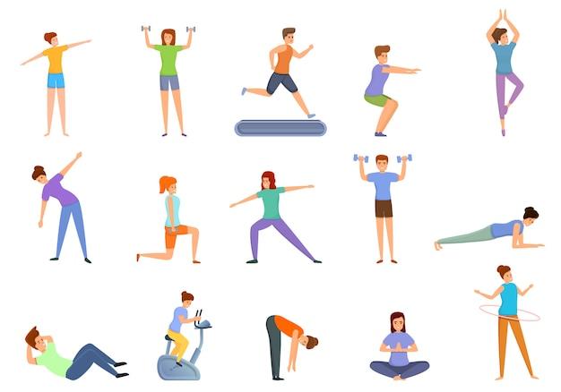 Conjunto de ícones de treinamento em casa, estilo cartoon
