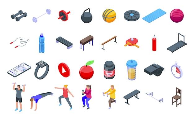Conjunto de ícones de treinamento em casa, estilo isométrico