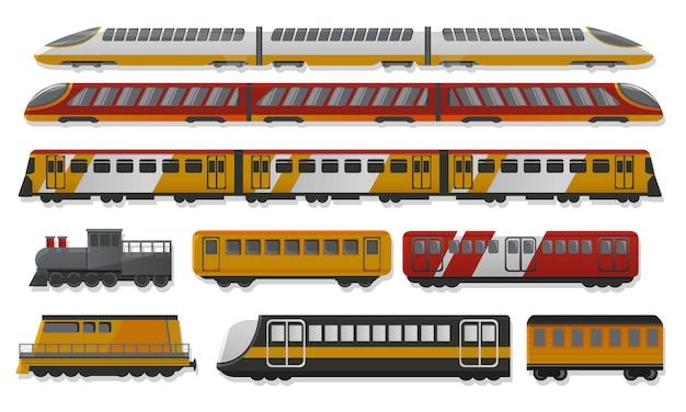 Conjunto de ícones de trem de metrô, estilo cartoon