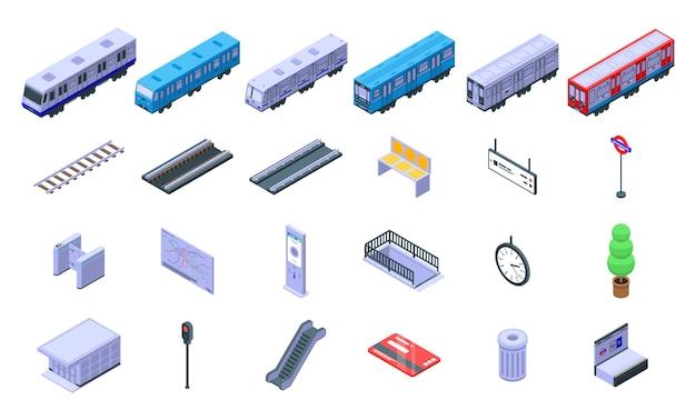 Conjunto de ícones de trem de metrô, estilo isométrico