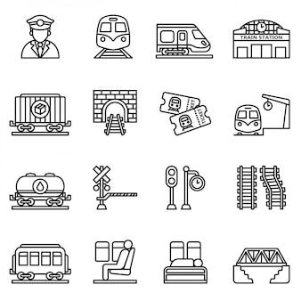 Conjunto de ícones de trem e ferrovias. vetor de estoque de estilo de linha fina.