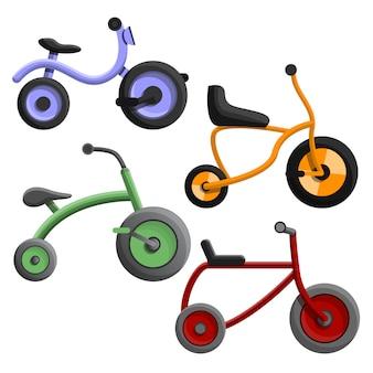 Conjunto de ícones de triciclo, estilo cartoon