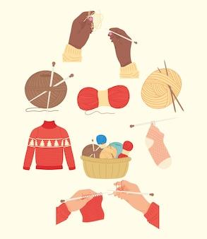 Conjunto de ícones de tricô e costura
