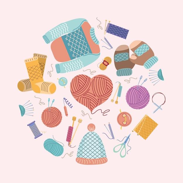Conjunto de ícones de tricô feitos à mão