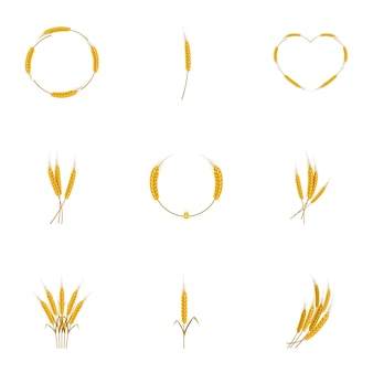 Conjunto de ícones de trigo, estilo cartoon