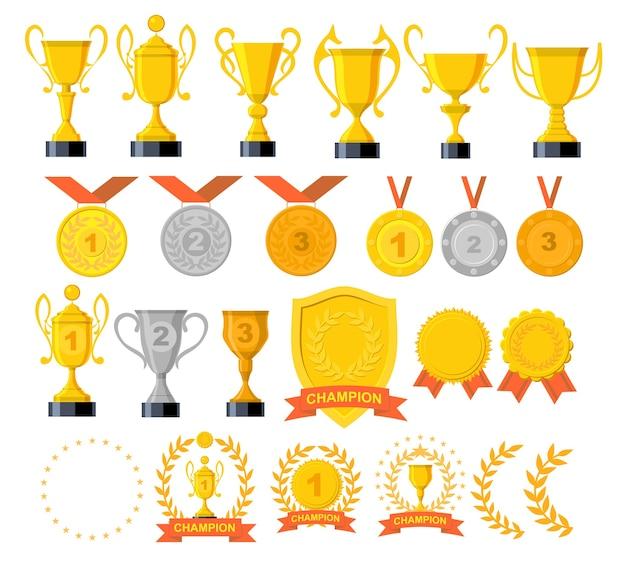 Conjunto de ícones de troféu e prêmios. recompensa de ouro e troféu de ouro para o campeonato.