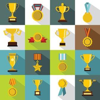 Conjunto de ícones de troféu, estilo simples