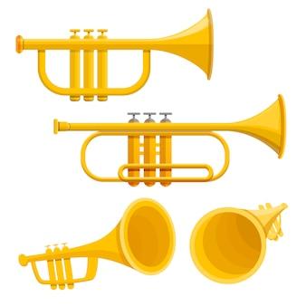 Conjunto de ícones de trompete, estilo cartoon