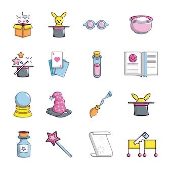Conjunto de ícones de truque de mágica