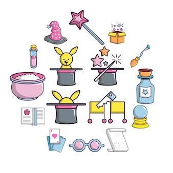 Conjunto de ícones de truque mágico, estilo cartoon