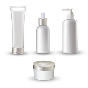 Conjunto de ícones de tubos cosméticos realista branco isolado para cuidados com a pele creme e emulsão