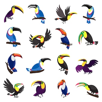 Conjunto de ícones de tucano. conjunto de desenhos animados de ícones de tucano