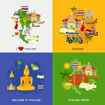 Conjunto de ícones de turismo de tailândia