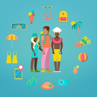 Conjunto de ícones de turismo de viagens familiares com acessórios de férias turísticas e mar.