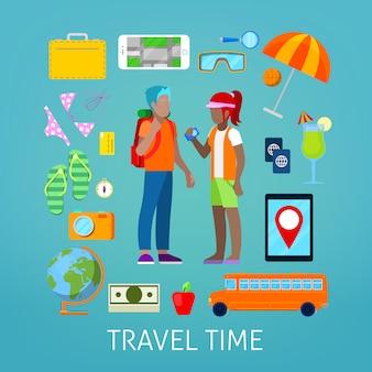 Conjunto de ícones de turismo e viagens com casal de turistas.