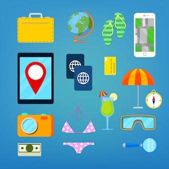 Conjunto de ícones de turismo e viagens.