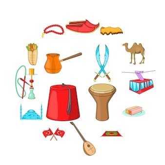 Conjunto de ícones de turquia, estilo cartoon