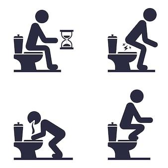 Conjunto de ícones de um homem sentado no vaso sanitário