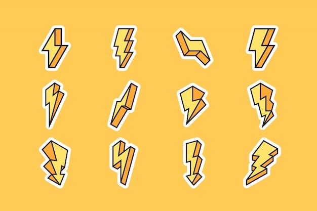 Conjunto de ícones de um raio