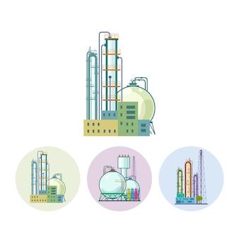 Conjunto de ícones de uma fábrica de produtos químicos
