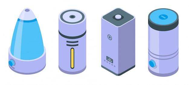 Conjunto de ícones de umidificador, estilo isométrico